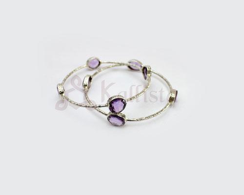 Orbit Stone Silver bangles collection- Amethyst