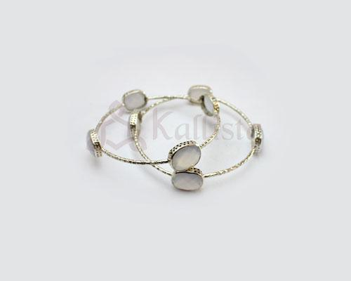 Orbit Stone Silver bangles collection- Blue Chalcedony