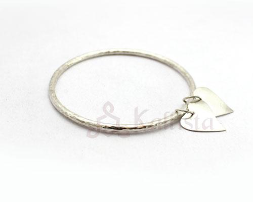Swaying hearts Silver bangle